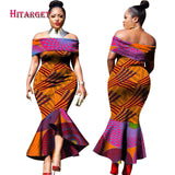 2019 New Fashion Design Traditional African Clothing Print Dashiki Slash Neck African Mermaid  Sexy Dresses for Women WY2348