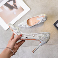 2019 New Luxury Crystal Wedding Shoes for Women Pointed Toe Stilettos High Heels Women Shoes Rhinestone Cinderella Heels Pumps