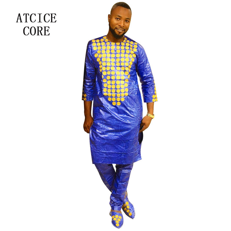 2019 New African Dresses For Man Bazin Riche Embroidery Design Dress A Owame