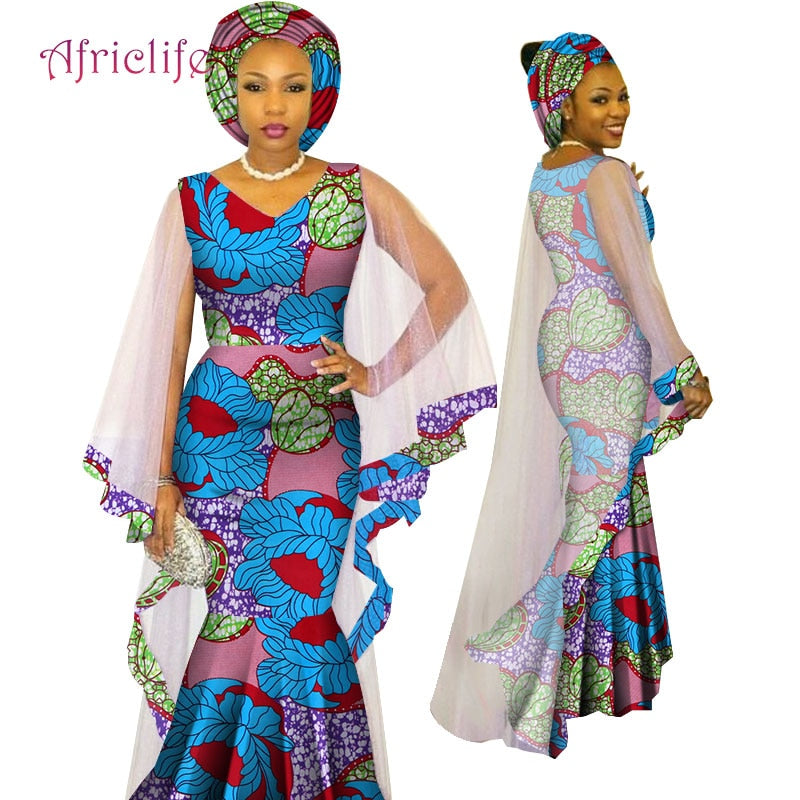 2019 Newest African Traditional Ethnic Style Women Clothing Ankara African  Print Fashion Dresses March Headwrap WY4624