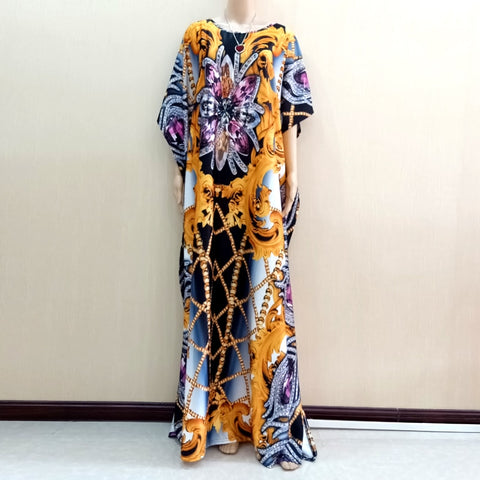 2019 Newest Design African Dashiki Dress Jewelry Pattern Print Yellow Dresses For Women