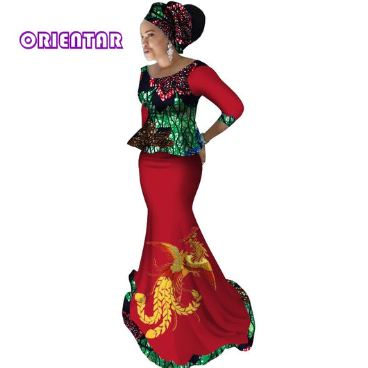 2019 Private Custom African Dress Bazin Riche Women Dress Suit Half Sleeve Tops and Long Print Skirt Large Size M-6XL WY2784