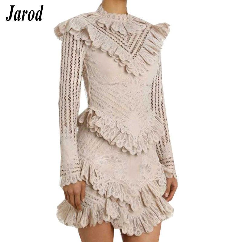 0f5359b752bc0 2019 Runway Designer Dress Women summer Sexy Hollow Out Ruffles Lace Up  White Mini Dresses Female Casual Holiday Dress Vestido
