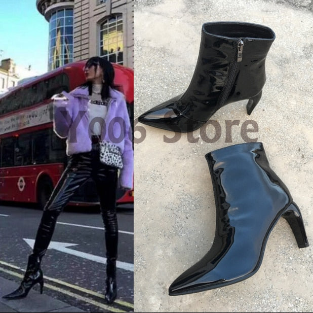 81443d8abfe 2019 Spring/Autumn Ankle Boots Women Pointed zipper patent leather sexy  Booties High Heel Martin Botas Mujer Heels Ladies Shoes