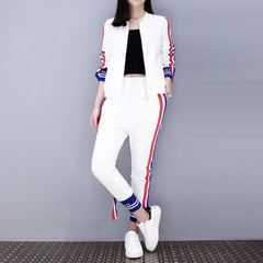 2019 Spring Fashion Tracksuit Casual Striped Pant Suits Runway Two Piece Set Women Zip-up jacket And Slim Pencil Pants