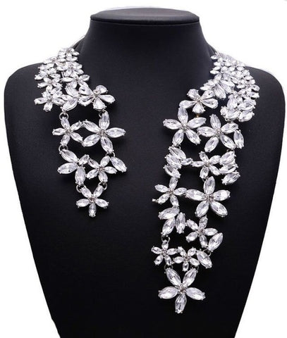 Image of 2019 Spring Summer Hot Fashion Jewelry Gem Crystal Flower Choker Necklace Trendy Party Gift Statement Necklace for Women XG587