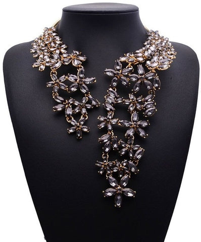 2019 Spring Summer Hot Fashion Jewelry Gem Crystal Flower Choker Necklace Trendy Party Gift Statement Necklace for Women XG587
