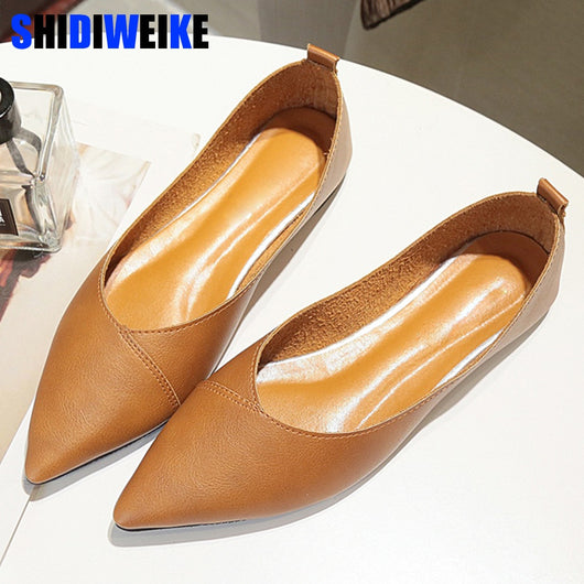 Women Flats Casual Shallow Mixed Color Pointed Toe Slip On Shoes