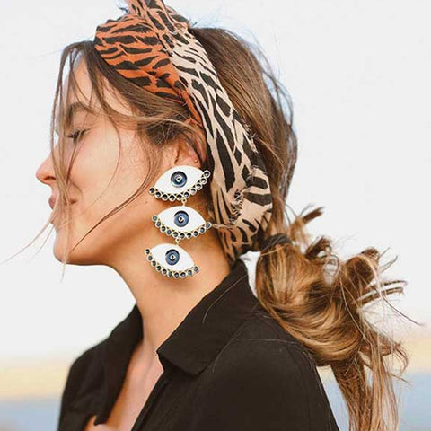 Image of 2019 Street Style Vintage Gold Color Three Enamel Evil Eye Earrings For Women Lady's Exaggerated Statement Earring Jewelry