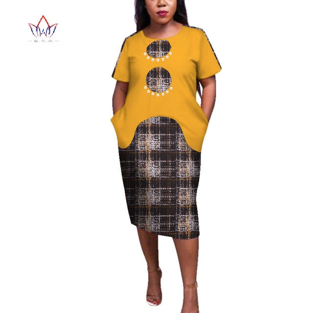 13e7e334b0cce 2019 Summer African Dresses for Women Africa Bazin Riche Print Spliced  Bodycon Office Lady Elegant Mid-Calf Midi Dress WY4029