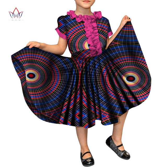 2019 Summer Dashiki Girl Clothes Kids Baby Girl O Neck Dress African C Owame