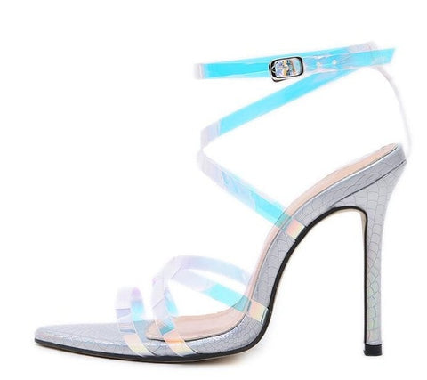 2019 Summer Newest Ankle Strap Sexy Sandal Colorful Laser PVC Cutouts Thin Heels Woman Gladiator Sandal Lady High Heel Shoe