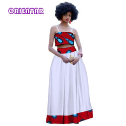 2019 Summer Strapless Crop Tops and Long Skirt Sets for Women 2 Pieces Maxi Skirt Sets Women Traditional African Clothing WY3003
