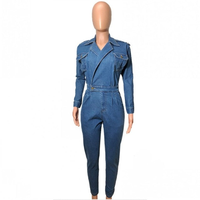 fc87145e8e 2019 Women Denim Jumpsuit Ladies Long Sleeve Jeans Rompers Female Casual  Plus Size Denim Overall Playsuit With Pocket