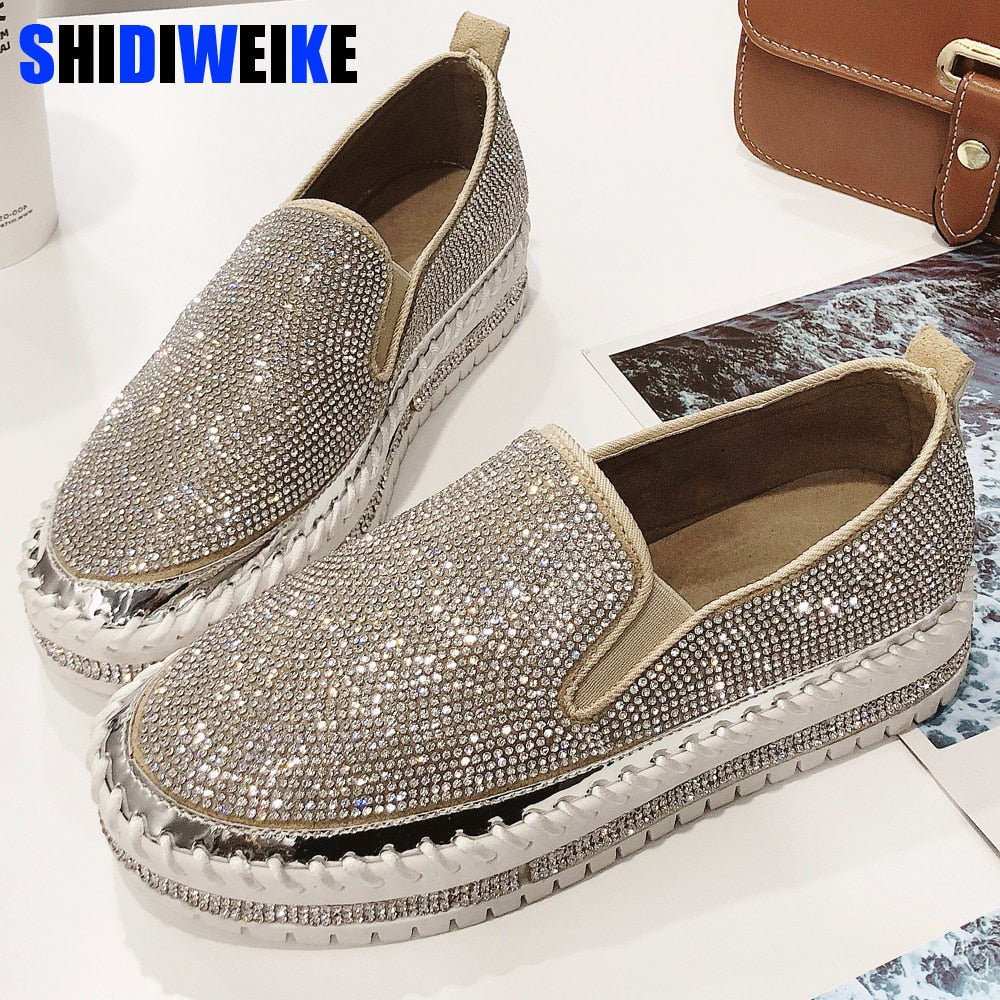 0b355998a8 2019 Women Sneakers Slip on Fashion Platform Flats for Lady Spring Autumn  Summer Loafers Rhinestone BlingBling Casual Shoes g229