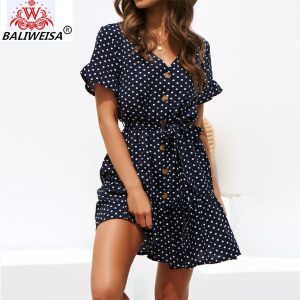 2019 Women Summer Dress Polka Dot Chiffon Mini Dress Boho Beach Sundress Short Sleeve Casual V-Neck Short Party Dress Robe Femme