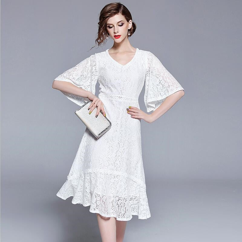 2019 Women Vintage Elegant A-Line White Lace Dress Half Flare Sleeve Hollow  Out Ruffles Slim Party Dress Vestidos Plus Size 3XL