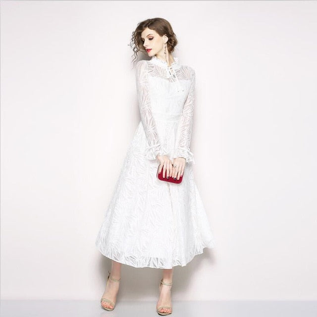 57bab7072c09 2019 Women White Lace Hollow Out Empire Long Dress Vintage A Line Long  Sleeve Ruffled Collar. Hover to zoom
