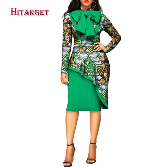 2019 africa style women dress elegant Dashiki Long Sleeve Plus Size Bazin  Riche African Traditions Contton Print Dresses WY2573