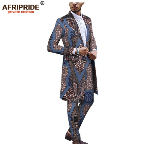 2019 african ankara dashiki suit for men AFRIPRIDE tailor made bazin richi single button long jacket+full length pants A1816012
