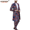 Image of 2019 african ankara dashiki suit for men AFRIPRIDE tailor made bazin richi single button long jacket+full length pants A1816012