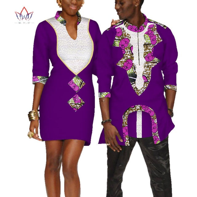 Wedding Dress For Men.2019 African Clothes For Couples Wedding Dress And Men Shirt Dashiki Couple Dress For Lovers Half Sleeve Cloth Plus Size Wyq213