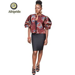 2019 african dashiki design clothes for lady print Appliques with two pockets spring& summer women`s coat AFRIPRIDE S1924008