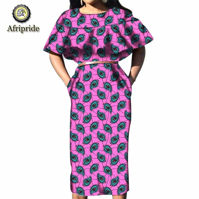 2019 african dresses for women AFRIPRIDE half sleeve ankara print pure cotton plus size boho sexy party dress Spring S1925001