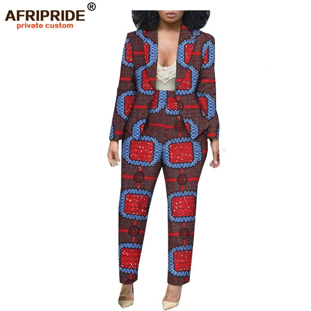 45d19658bf9b 2019 african print spring&autumn office lady suit AFRIPRIDE tailor made full  sleeve jacket+ full length pants. Click to expand