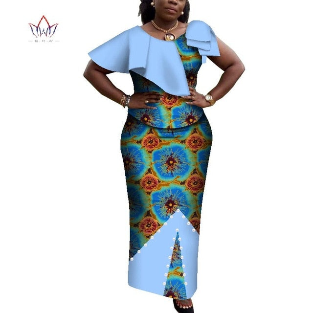 0659143572cf ... 2019 african skirt for women o-neck african print clothing for women  skirt set short ...