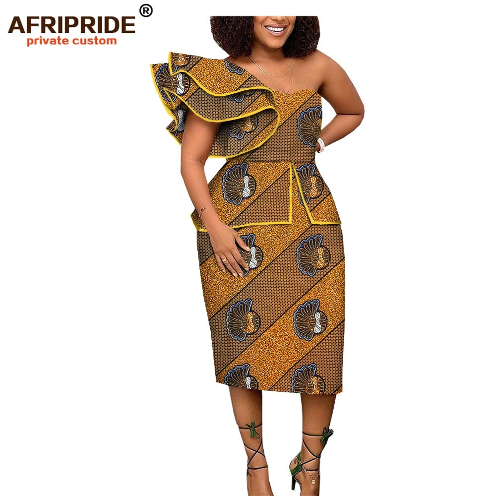 8a2e7187b53 2019 african spring dress for women AFRIPRIDE short butterfly sleeve mid-calf  length one shoulder. Hover to zoom