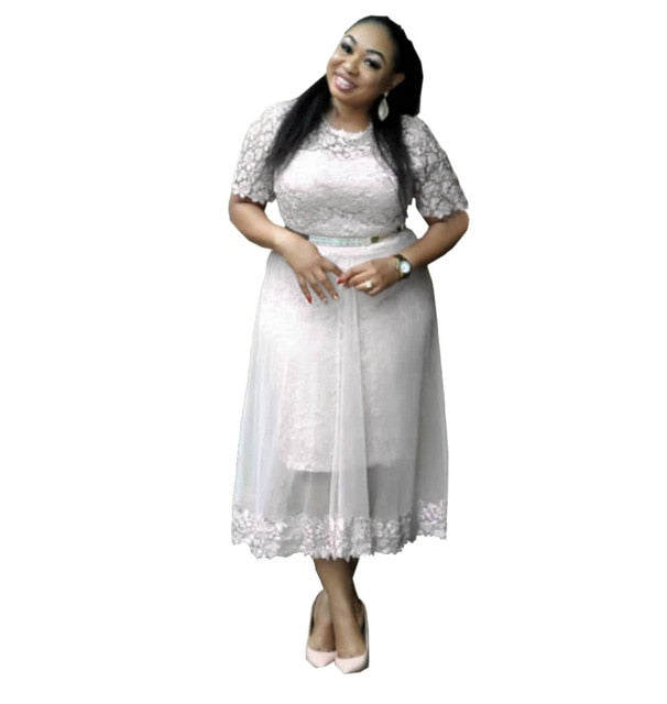 2019 new arrival elegent fashion style african women lace plus size long  dress L-XXL