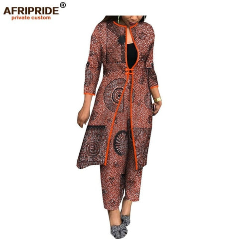 2019 new spring&autumn ankara pants set for women AFRIPRIDE knee length top+ankle length pants casual women cotton set A1826026