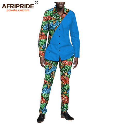 2019 spring&autumn africa casual set for men AFRIPRIDE full sleeve single breasted shirt+full length pants men's set A1816007