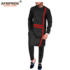 2019 spring&autumn african set for men AFRIPRIDE tailor made full sleeve long top+full length pants men's cotton set A1816008