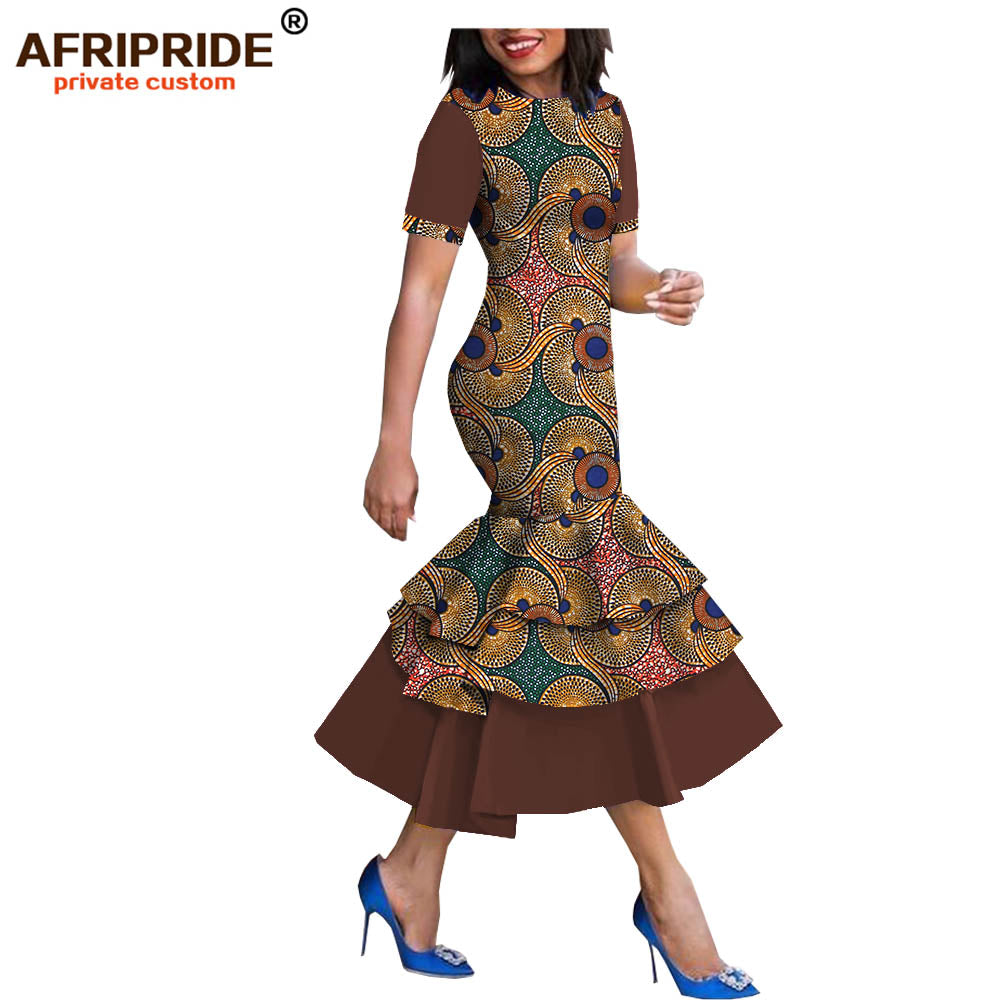 2019 spring\u0026autumn african style dress for women AFRIPRIDE short sleeve  mid,calf length 3 layers trumpet women dress A1825080