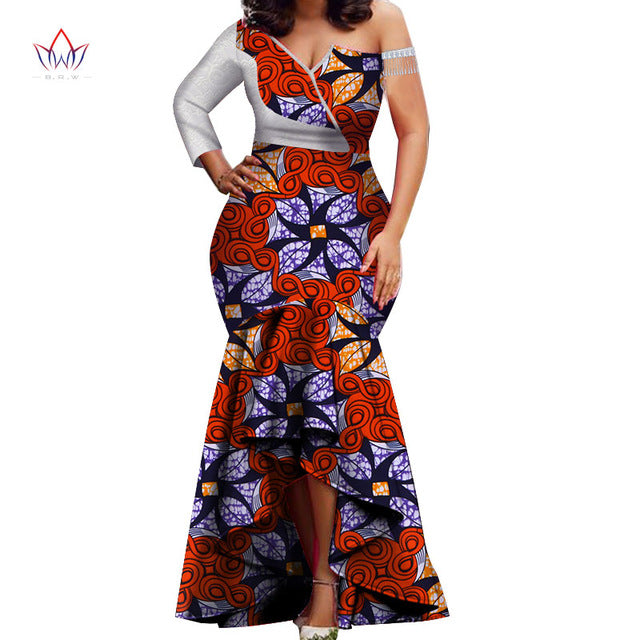 194bf0d6916c ... 2019 spring new fashion afriac dresses for women Dashiki Lace Patchwork  Traditional African Clothing Party Dress ...