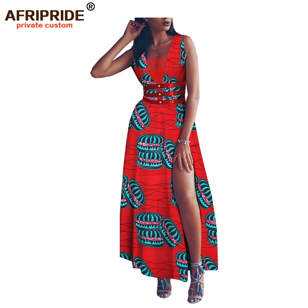 great fit detailed look newest style of 2019 summer africa dress for women AFRIPRIDE sleeveless ankle length side  split women cotton dress with faux fur sashes A1825078 1