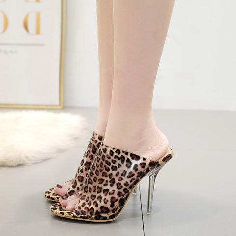 2019 summer slippers transparent PVC jelly shoes sexy leopard print high heels party ladies' sandals Shoes