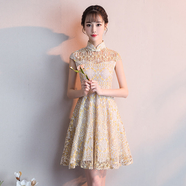 d4292f11903 2019 summer traditional chinese dress qipao yellow ladies evening dresses  vintage cheongsam women bride lace cheongsam. Hover to zoom