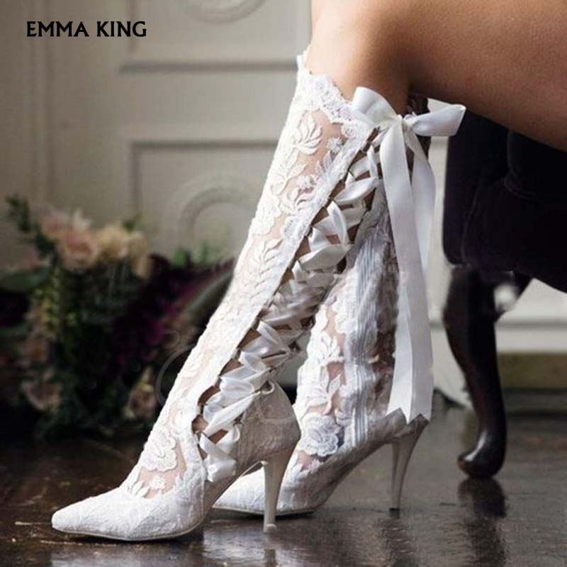 4aa7a3dc84ad6 2019NEW Elegant White/Red Lace Bridal Boots Pointy Toe Side Lace up Botas  Mujer for Wedding Party Shoes Woman Heels Ladies Shoes