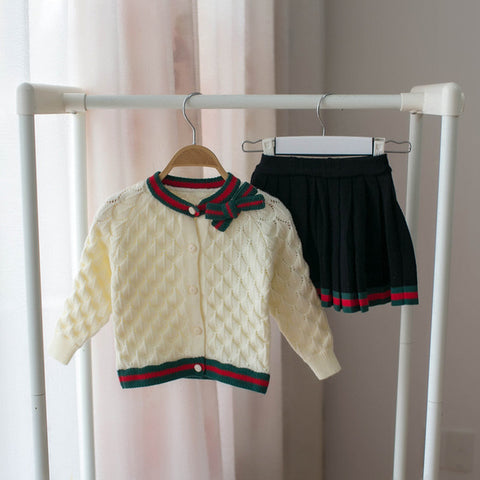 2019NEWChildren's sweater suit + short skirt knitted suit girl baby suit girl autumn and spring children's cotton two-piece suit
