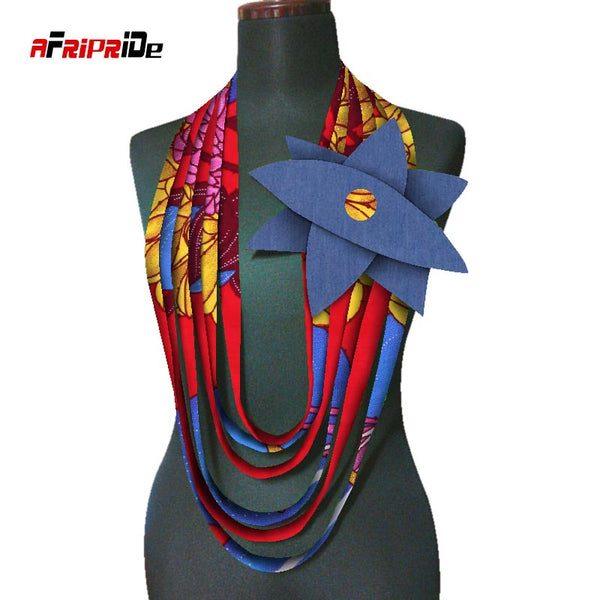 2020 Africa Wax Necklaces African Print Multi strands Necklace African Multi-layered Rope Necklace Ankara Jewelry WYA112