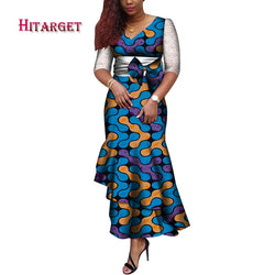 2020 African Clothes Ankara Mermaid Dress Middle Sleeve African Dresses for Women Print Bazin Riche Cotton Big Size WY7472