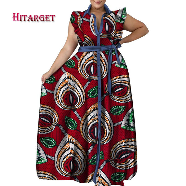 2020 African Clothes Dashiki Ankara Baggy Long Dress Waistband Short Sleeve Women African Clothing Bazin Riche Cotton WY7228