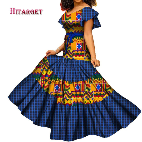 2020 African Clothes Dashiki Low Neck Short Sleeve Long Dress Full Length Skirt Elegant Bazin Riche for Party WY7609