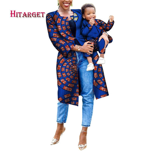 2020 African Clothes Dashiki Mother and Child Dress Long Coat and Boy Top Pant 3 Pieces Set Bazin Riche WYQ468