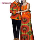 2020 African Clothes for Couple Dashiki Elegant Lassel Lady Sexy Dress Party and Top Men Shirts Cotton African Clothing WYQ356