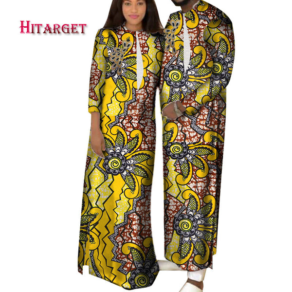 2020 African Clothes for Men and Women African Bazin Riche Printed Couple Wear Traditional Robe Clothes 2 Pieces Set WYQ424