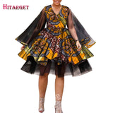 2020 African Clothes for Woman Long Sleeve Fluffy Dress Organza African Bazin Riche Plus Size Women Fashion Party Dress WY7425